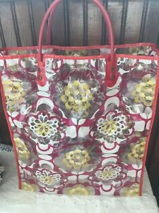 70's Vintage Red/Yellow/Pink Flower Power Plastic Clear Tote Bag 2 Handles