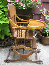 PRIMITIVE ANTIQUE WICKER BABY HIGH CHAIR ROCKER STROLLER CAST IRON TOY WHEELS