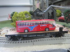 O GAUGE LEHIGH VALLEY FLATCAR W/ TRAVEL BUS THAT LIGHTS & HAS SOUNDS LIONEL MTH