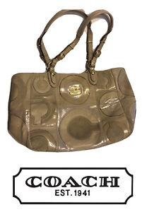 Coach Mia Monogram Bag Purse Suede Leather E1069-15748 Beige Shoulder C P