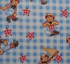 Raggedy Andy Dolls Gingham Stars Blue Checked Background Baby Quilting Fabric FQ