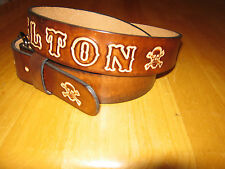 CUSTOM MADE LEATHER BELT CUSTOM MADE WITH YOUR NAME AND SKULL/CROSSBONES BROWN