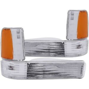 ANZO Euro Parking Lights Chrome w/ Amber Reflector for 91-96 Dodge Dakota