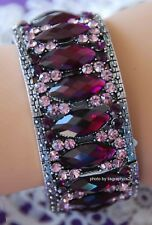 Purple Crystal Cuff Bangle Bracelet / Antique Silver-tone / Fashion Bling