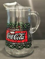 Vintage Coca Cola Serving Pitcher Stained Glass Pattern Red Green White Clear