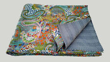 Twin Size Paisley Kantha Quilt Indian Reversible Bedspread Bedding Throw Blanket