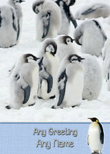 Personalised Penguin Birthday Card - Any Name/Greeting/Occasion
