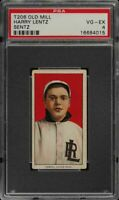 1909-11 T206 Harry Lentz Old Mill Southern League Little Rock PSA 4 VG - EX