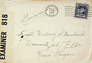 US 1940 FAMOUS PEOPLE 1v ON WWII CENSOR COVER TO GERMANY