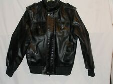 Vintage Route 66 Black Faux Leather Bomber Jacket Men's Sm. Excellent Condition