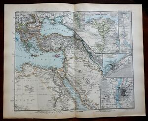 East Africa Egypt Nubia Alexandra Cairo Nile River 1891 Stieler detailed map