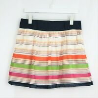 Maurices Sz Medium Womens Skirt Blue Pink Striped Cotton Lined A-Line Pockets