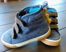 Cat & Jack Navy Blue Canvas & Brown Dinosaur High Tops/ Boots Toddler Boy Size 5