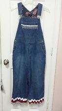 Austin Clothing Denim USA red blue white Beaded Trim Overall Size Medium WC410
