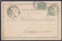 Dänemark alte 5 Öre Ganzsache mit ZuF, Jobenhavn - Hannover 1893, Klassik GA
