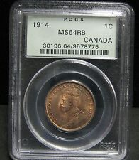 1914 Canadian One Cent - PCGS  MS64 RB - 8775