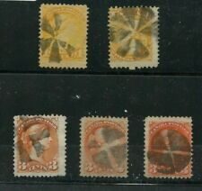 Fancy cancels on 7 Small Queen stamps Retail $10ea, $70 total Canada