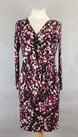 Jacques Vert Abstract Print Ruched Long Sleeve Stretch Bodycon Dress UK 8