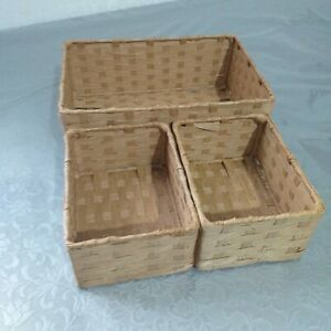 Set of 3 Woven Rectangle Paper Storage Boxes Bath Dressing Storage Solution new