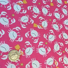 Michael Miller Little Diggers Crab Raspberry Cotton Quilting Fabric FQ 50cmx54cm