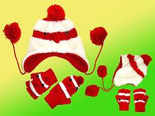 Enfants Ensemble D'Hiver Bonnet & Gants Bonnet D'Hiver Gants Weihnachtslook