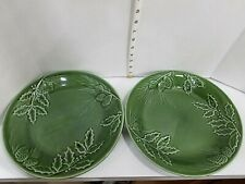 Lenox RUSTIC PINE Dinner Serving Plates Set of 2 Dark Green Forest Pinecone