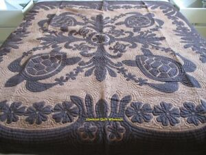 Hawaiian quilt wall hanging handmade 100% hand quilted/appliqued BEDSPREAD BROWN