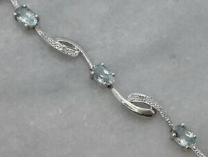 "Stunning Solid 9ct White Gold Tennis Bracelet Blue Topaz Diamond - 7.8"" - 6.45g"
