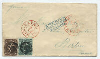 1860s #68, 76 15 ct cover New Haven to Prussia fancy cancel 6 point star [y4172]