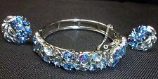 Vintage Lisner Bracelet & Clip Earrings Blue/Aurora Borealis Rhinestone Set
