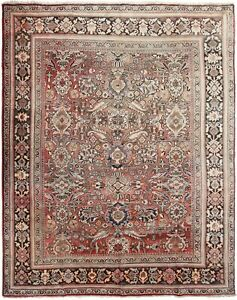Antique Mahal Sultanabad Rug Geometric Red Antique Rose 8x10 Traditional Orienta