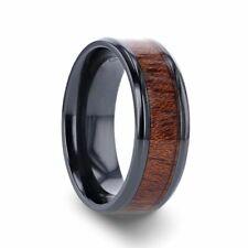 Black Titanium Men's Band Beveled Edges & Exotic Mahogany Hard Wood Inlay - 8mm