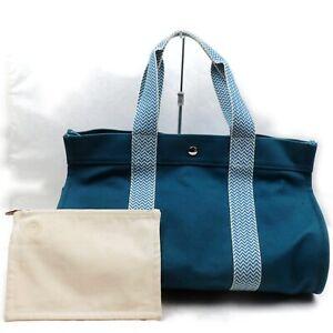 Hermes Tote Bag  Blue Canvas 839508