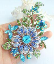 """Beautiful Wedding 4.72"""" Orchid Flower Brooch Pin Blue Austrian Crystal 04712C8"""
