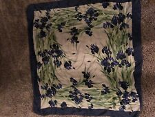 Gumps silk scarf beautiful Irises Purple whit light green
