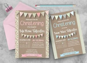 10 Personalised Christening Baptism Naming Day PHOTO Invites Invitations
