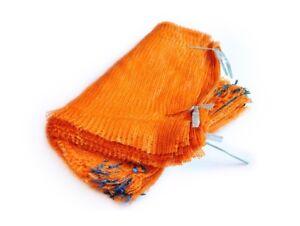 Orange Net Sacks with Drawstring Raschel Bags Mesh Vegetables Logs Kindling Wood