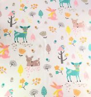 Cute Woodland Animals, Deer, Rabbits, Birds Printed on 100% Cotton Poplin Fabric