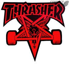 """Thrasher """"Skate Capra"""" Skateboard Sticker 10cm MEDIO ROSSO SKATE MAG sk8 Capra"""