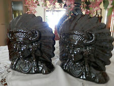Bookends Native American Indian Chief Headdress Ceramic -