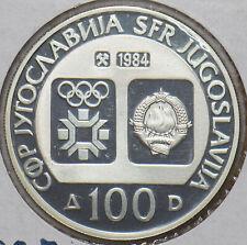 Yugoslavia 1984 100 Dinara proof Winter Olympics 296646 combine