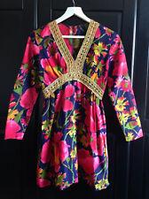 Vintage 60s Psychedic Hot Pink, Fuchsia, Floral Mini Dress, UK 8/10 Beyond Retro