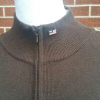 Ralph Lauren Polo Jeans Co Sweater Pullover 1/4 Zip Brown Arm Stripe Size XL