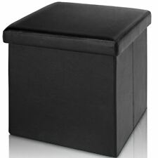 Pouf tabouret pliant polyuréthane noir 38x38x38 cm boite rangement /EB/CD