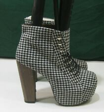 "new Black,White,Plaid 5""High Block Heel Round Toe Lace Up Sexy Ankle Boot Size 6"
