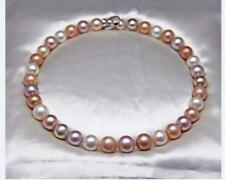 """HUGE 18""""12-14mm natu south sea genuine white gold pink round pearl necklace 3838"""