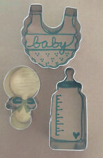 Baby Bib,Rattle, Bottle Cookie Cutter Set - set of 3