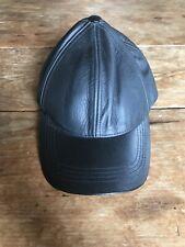 Mens Womens Black Leather Baseball Cap Adjustable