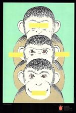 hear no see no say no evil monkeys unframed poster longest side 10 inches JK19