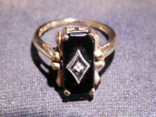 Vintage 10K Gold Black Onyx Diamond Ring Size 6 Estate
